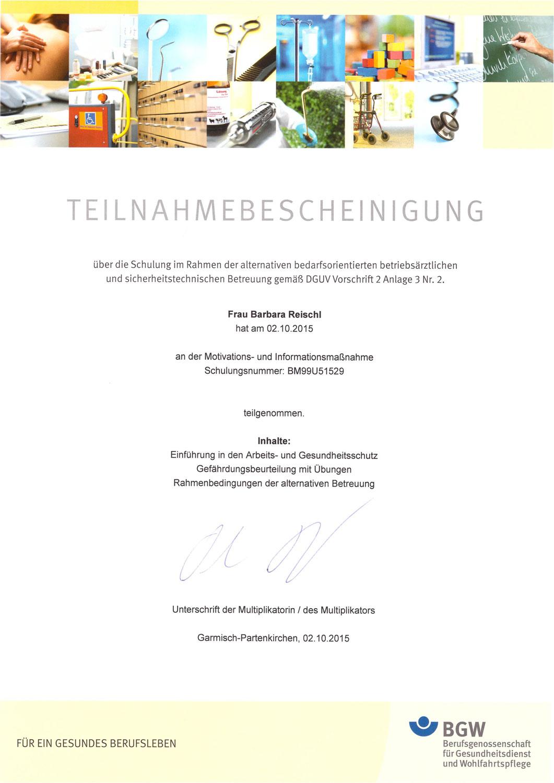 Barbara Reischl - Betriebsärztliche und sicherheitstechnische Betreuung
