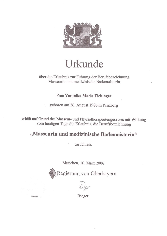 Veronika Pfanzelter - Urkunde Masseurin und medizinische Bademeisterin