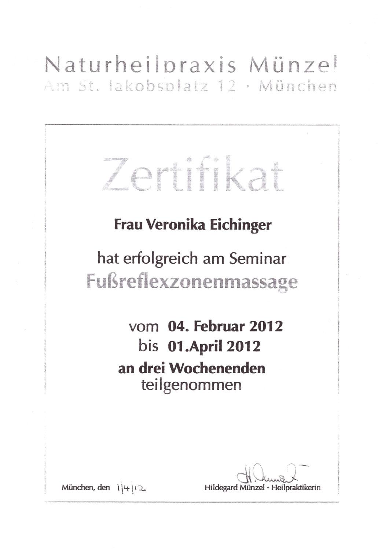 Veronika Pfanzelter - Zertifikat Fußreflexzonenmassage