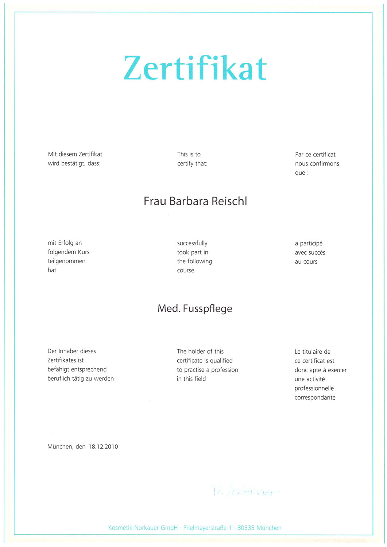 Barbara Reischl - Zertifikat medizinische Fusspflege
