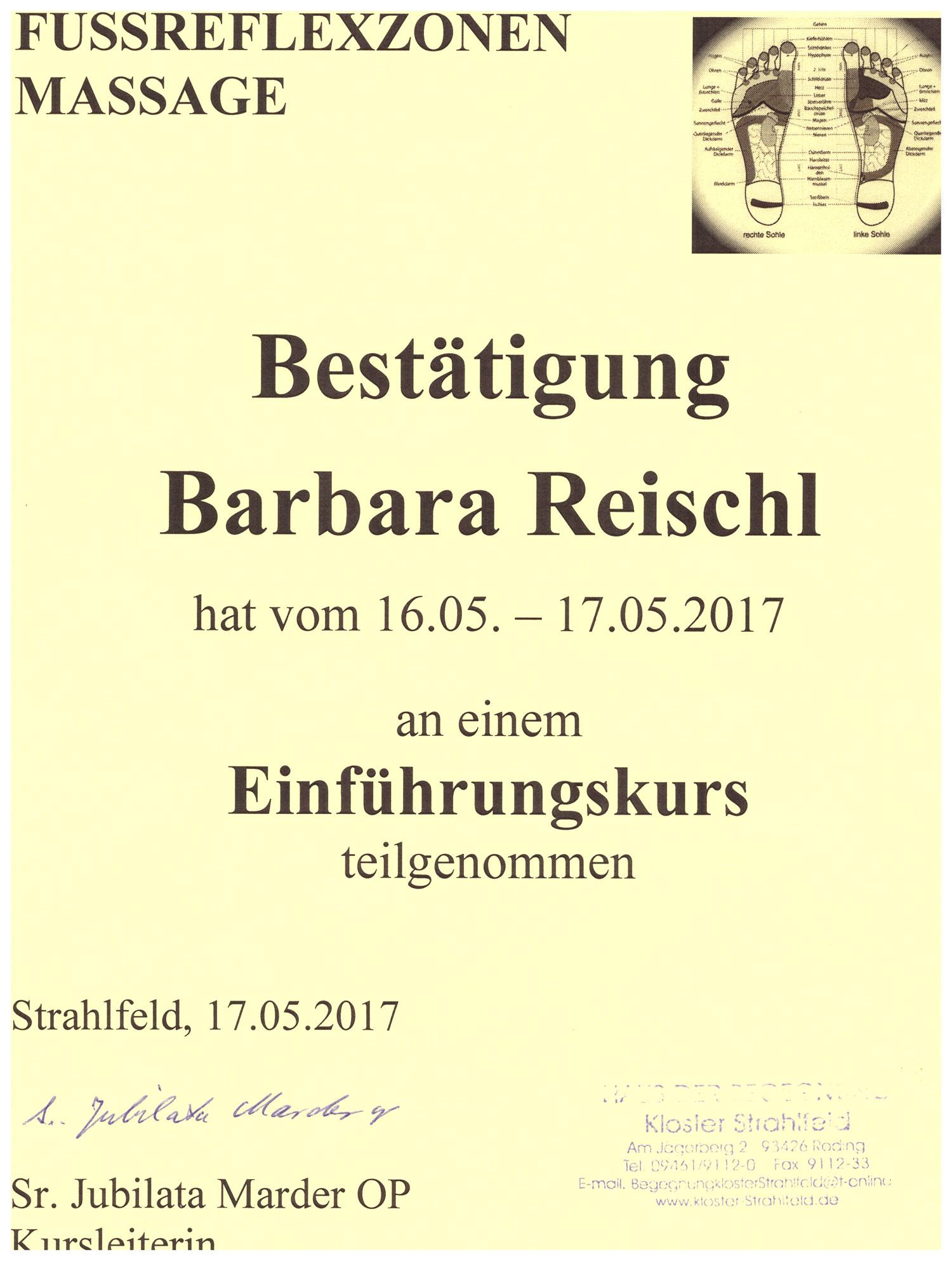 Barbara Reischl - Fußreflexzonen-Massage Einführungskurs