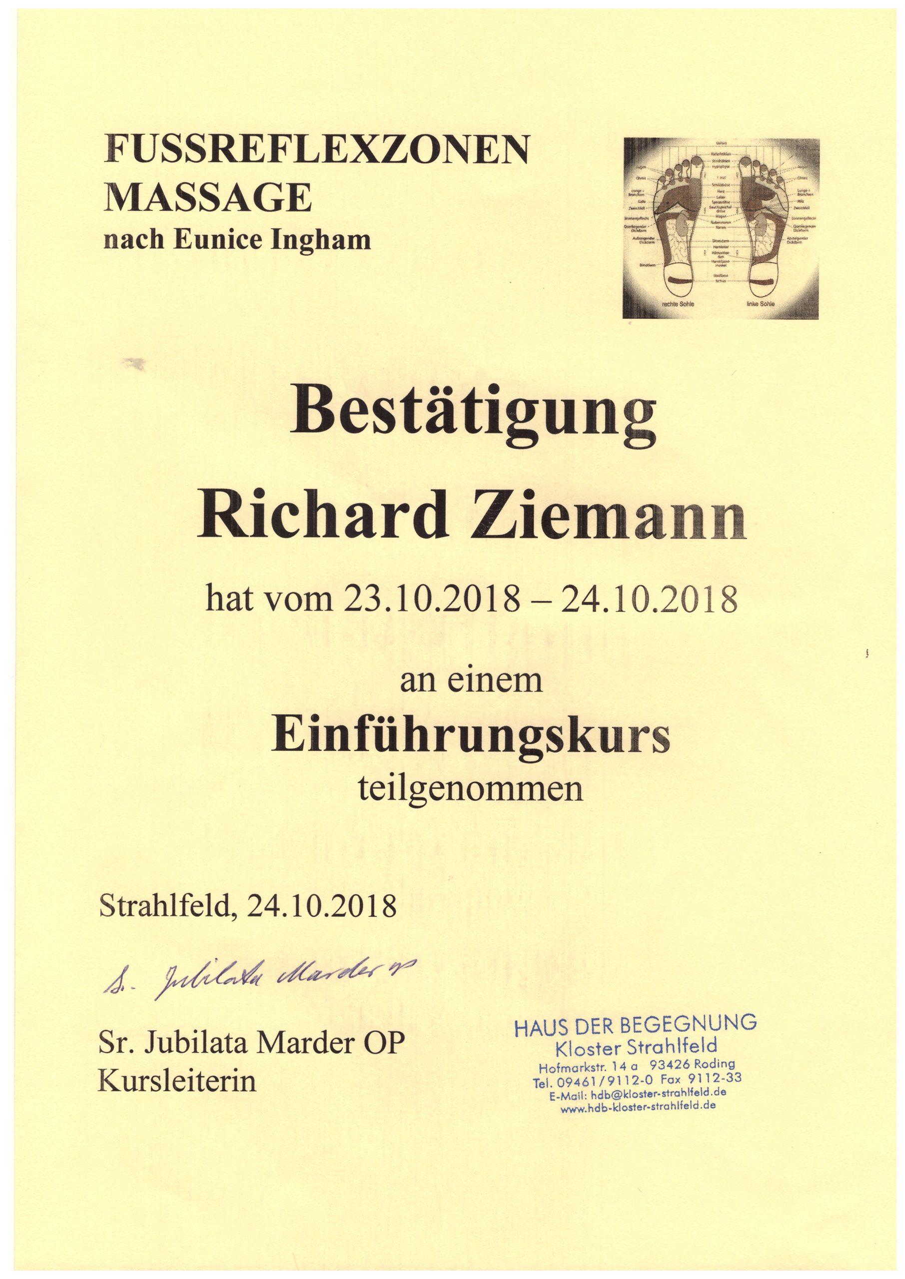 Richard Ziemann - Einführungskurs Fußreflexzonenmassage