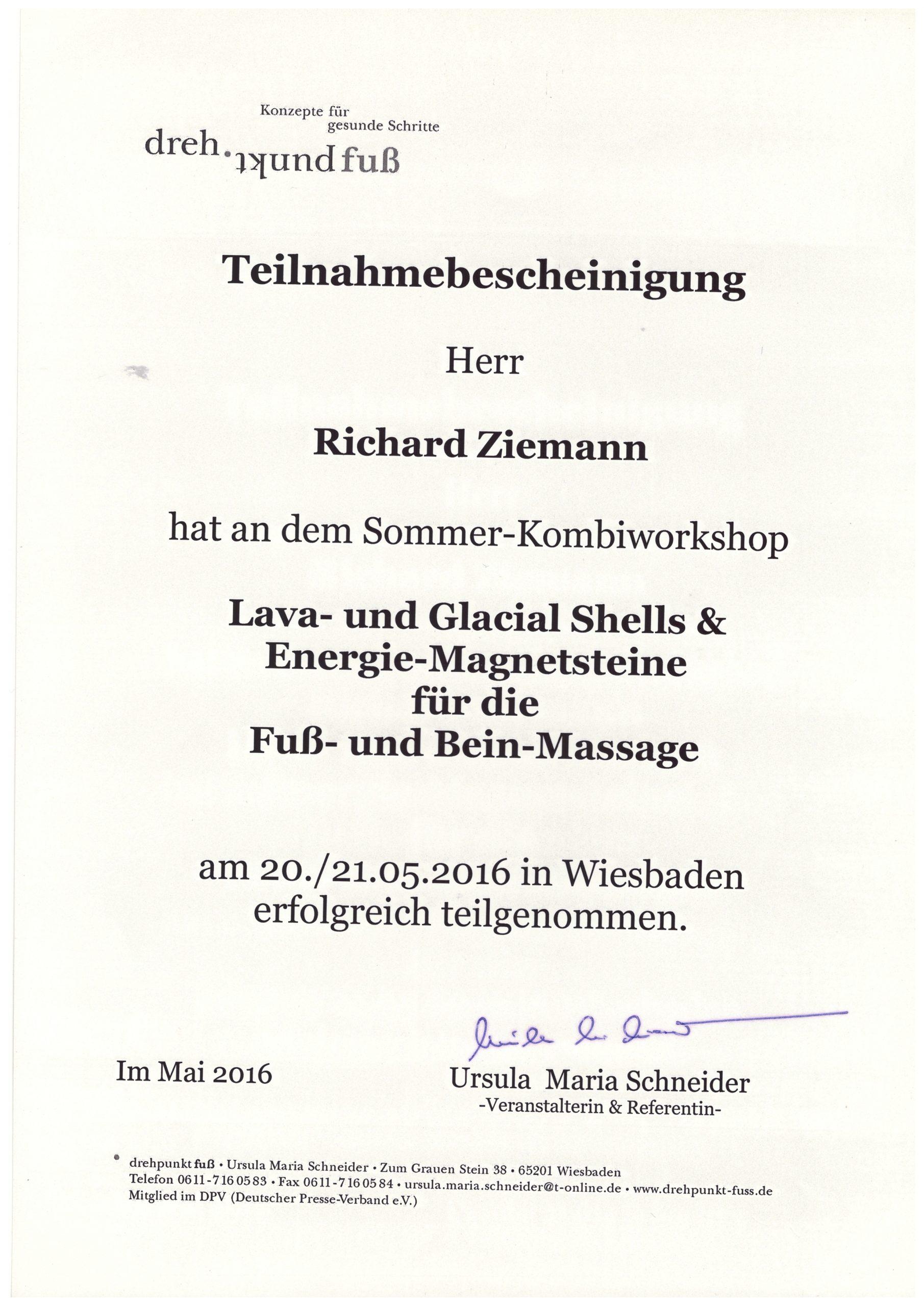 Richard Ziemann - Teilnahmebescheinigung Fuß- und Beinmassage