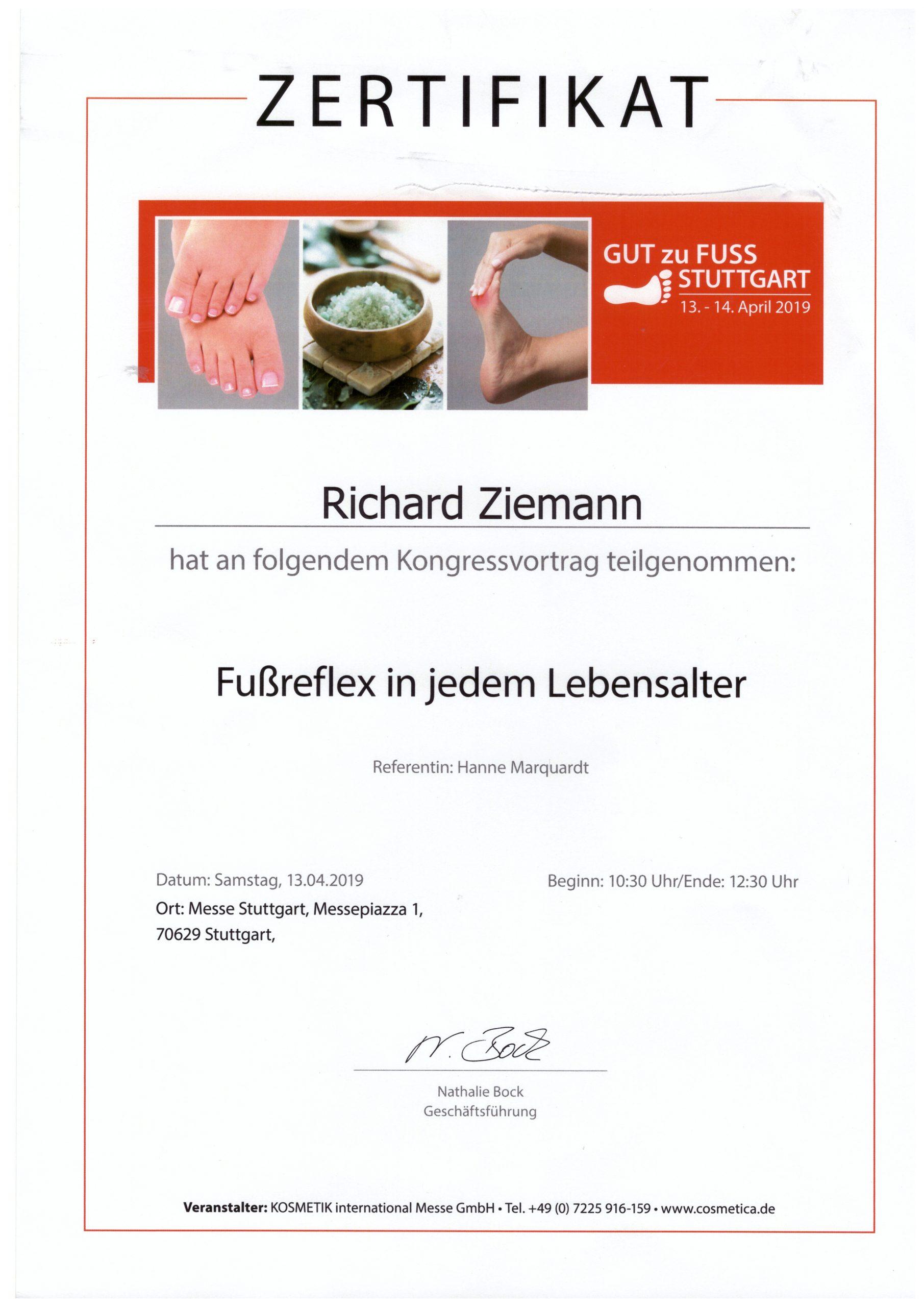 Richard Ziemann - Zertifikat Fußreflex in jedem Alter