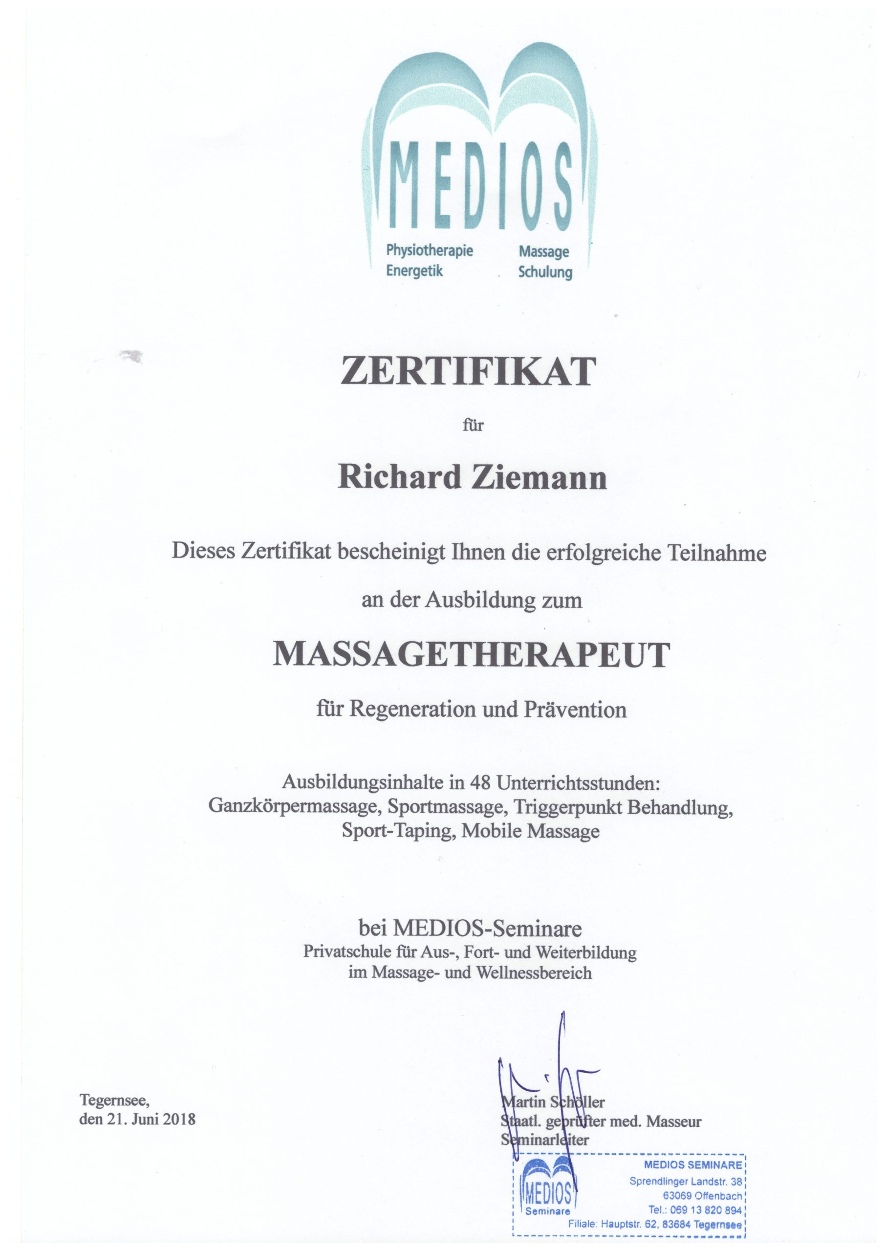 Richard Ziemann - Zertifikat Massagetherapeut